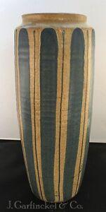 "Mid Century Japanese redware studio pottery 11.75"" tall vase blue stripes"