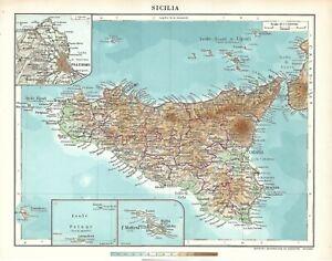Carta geografica SICILIA del 1956 Istituto De Agostini