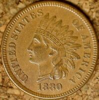 "1880 Indian Head Cent - AU SNOW-3e, ""BROKEN 2nd 8"" EXACTLY AS SHOWN (M104)"