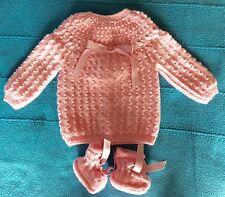 NOUVEAU layette bébé,brassière-chaussons NAISSANCE rose laine hypoallergénique