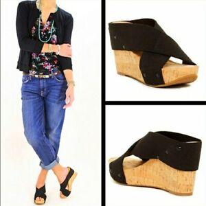 """Women's Lucky Brand """"Miller 2"""" Wedge Cork Heel Black Stretch Strap Sandals 8.5"""