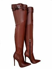 CQ COUTURE CUSTOM OVERKNEE BOOTS STIEFEL STIVALI LEATHER BELT BROWN MARRONE 37