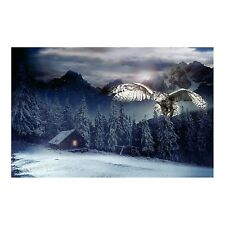 "28"" Fabric Panel - Hoffman Digital Call of the Wild Mountain Owl Cabin Scene"