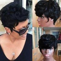 Fashion Vogue Women Short PIxie Cut Human hair Wig Black Full Wigs Wavy Hair