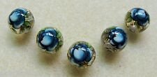5 Japanese Tensha Beads DARK BLUE ROSE on CLEAR ROUND Beads 12mm