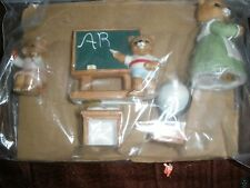 "Vintage Homco Home Interior Homco Porcelain Figures "" Bears At School "" Set /5 -"