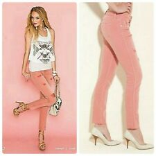 Guess Brittney Ankle Skinny Cutoff Jeans READY PINK 30