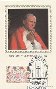 (86928) GB Benham Postcard Cover Pope John Paul II Westminster Cathedral 1982