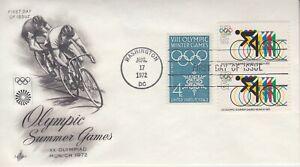 1972 #1460 6c OLYMPICS PAIR ON COMBO FDC W/ #1146 ART CRAFT CACHET UA GEM