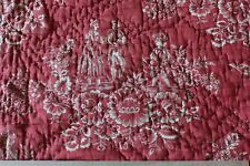 """Early 18thC Toile de Jouy Turkey Red Resist Quilt Fabric c 1780~34""""LX28""""W"""