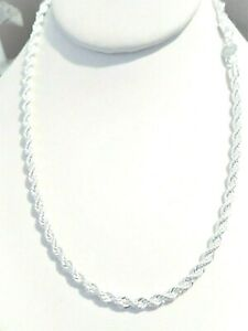 """womens/mens 4mm rope chain necklace 925 sterling silver 20"""""""