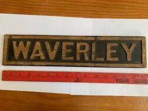 """Vintage Carved Wood Sign """"WAVERLEY"""""""