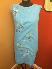 Vintage Embroidered Handmade 60s 70s Mod Flower Floral Dress Pink Blue Yellow