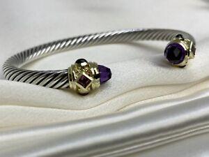 $1,200 David Yurman Renaissance Bracelet Amethyst Tourmaline Garnet 14K Gold 5mm