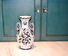 English Victorian Porcelain Black White Pansy Vase