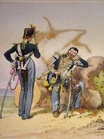 RUSSIE Litho XIX COULEUR COSTUME UNIFORME MILITAIRE ARMEE ROMANOV RUSSIA 1840 x