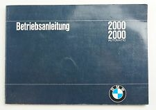 Notice d'emploi BMW 2000 et 2000 automatic 1966 bon état en allemand
