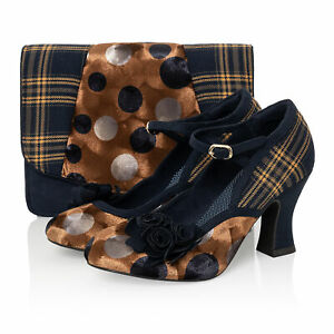 Dee Dee Navy Mustard Mid Heel Mary Jane Bar Shoe & Matching Dublin Bag by Ruby