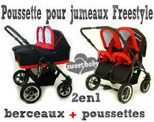 Poussette pour jumeaux FREESTYLE DOUBLE COMBO Poussettes+Berceaux noir+rouge