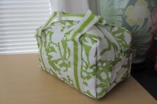Clinique Lime Green White Leaves Pattern Cosmetic Case Skincare Bag