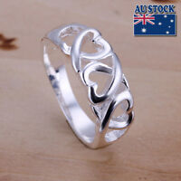 925 Sterling Silver Filled Triple Ribbon Hearts Ring Size 6-9 Engagement Wedding