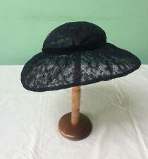 50s Vintage Hat. Black Lace Wide Brim. Goodwood