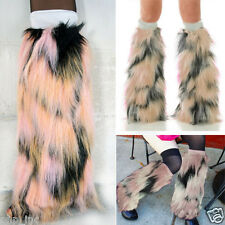 Long Pastel Pink Furry Fluffy Fuzzy Leg Warmer Boot Cover Cuff Rave Faux Fur OS
