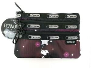 LeSportsac Peanuts 3 Zip Cosmetic Pouch Snoopy in the Stars Purple