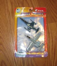 "NIP 2 PK Road Tough Super AIRFORCE AIRPLANE Metal Collect USAF 4"" Die CAST NEW"