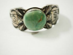 Old Pawn Navajo Turquoise Cuff Bracelet Sterling Silver