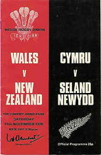 WALES v NEW ZEALAND 1978 RUGBY PROGRAMME