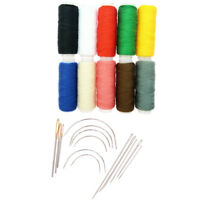 24Pcs Curved Straight Sewing Needles With Leather Waxed Thread Cord Rainbow