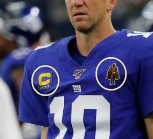 2019 NY GIANTS Eli Manning 4-GOLD-⭐STAR CAPTAINS C-PATCH + Man-of-Year 2-PATCH