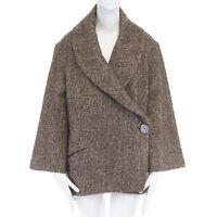 ISABEL MARANT brown wool tweed flare bell sleeve oversized wrap coat jacket S
