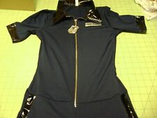 Ladies Police Cop Halloween Costume Sexy Outfit Officer Catsuit Size 2-4 SMALL