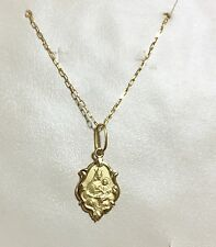 18k Gold Scapular Necklace Medal Small Lady of Carmel with heart of Jesus