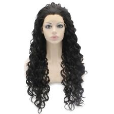 Long Curly Black Heat Resistant Fiber Hair Natural Synthetic Lace Front Wig