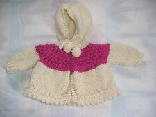 Handmade knitted baby hooded sweater acrylic yarn off-white and rose #2