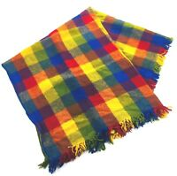 "Vintage Faribo 100% Wool Fringe Blanket Bright Plaid Throw Stadium Camp 47""X43"""
