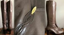 Vtg Salvatore Ferragamo Tall Taupe Calf Leather Knee Boots High Heeled 8.5 Italy
