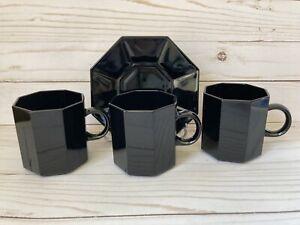 Vintage Set 3 Black Octagonal Mugs 80s Arcoroc France Mod Retro Deco Minimalist