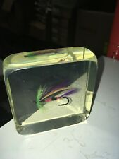 "Vintage Lucite Fly Fishing Paperweight 3"" Executive Office Desk Gift Acrylic"