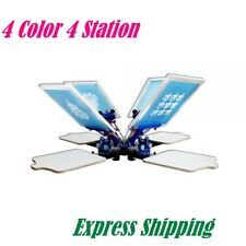 4 Color 4 Station Silk Screen Printing Machine, Micro Registration