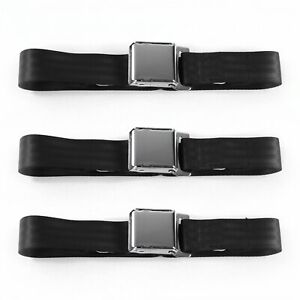 Ford Truck 1948 - 1952  Airplane 2pt Black Lap Bench Seat Belt Kit - 3 Belts  V8