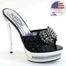 Brieten Women's Stilettos Platform Sandals Slippers High Heel Peep Toe Sandals