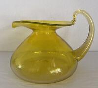 Vintage 1966 Art Glass Yellow Blenko Squat Beaker Pitcher with Handle