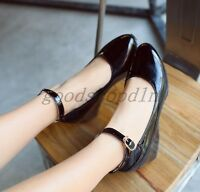 Sweet Womens Patent Leather Mid Hidden Heel Loafers Ankle Strap Shoes US3.5-15.5