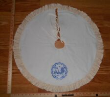 """DELFT BLUE WINTER HORSE & BUGGY Embroidered Tree Skirt,27"""" dia,Christmas,Country"""