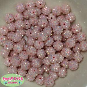 12mm Ice Pink Resin Rhinestone Bubblegum Beads Lot 40 pc.chunky gumball