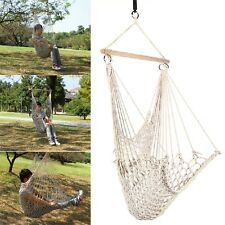 Kids Adults Cotton Rope Net Outdoor Swing Seat Hanging Patio Garden Chair IM